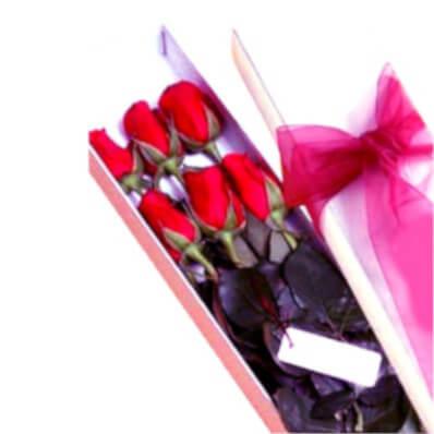 Rosas en caja x 6